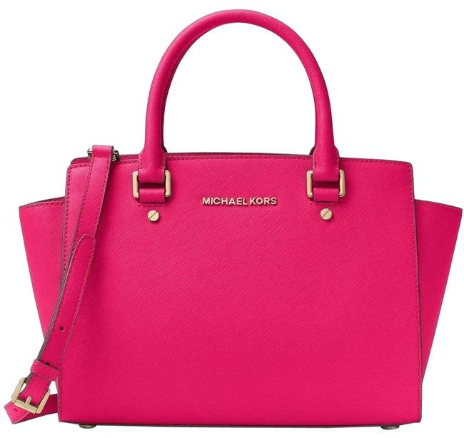 Michael Kors Selma Medium Top Zip (New with Tags) Ultra Pink/Gold Hardware Saffiano Leather Satchel Michael Kors Selma Medium Top Zip (New with Tags) Ultra Pink/Gold Hardware Saffiano Leather Satchel Image 1