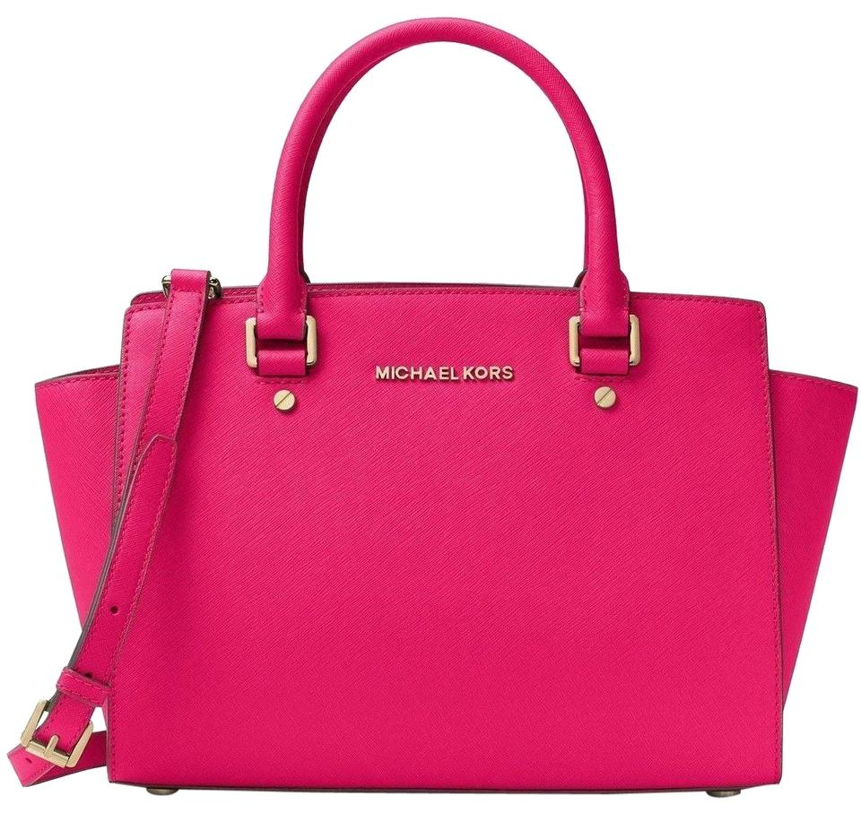 17cbb5fd75ea Michael Kors Saffiano Leather Purse Selma Mk Fuchsia Satchel in ULTRA  PINK Gold hardware ...