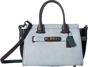 Coach Color-blocking Pebbled Satchel in Pale Blue/ Navy/ Dark Turquoise