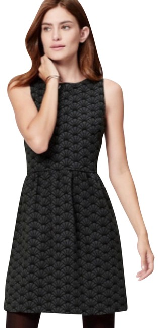 Item - Grey and Black Fit Fan Print Mid-length Work/Office Dress Size 6 (S)