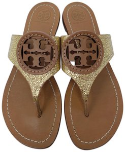 9cb2174c983794 Tory Burch Gold Brown Gold-tone Metallic Foil Leather Louisa Sandals ...