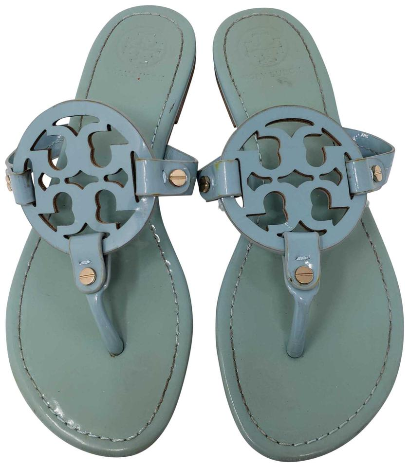 7d8db96f17f06 Tory Burch Blue Pale Patent Leather Miller Sandals Size US 9 Regular ...
