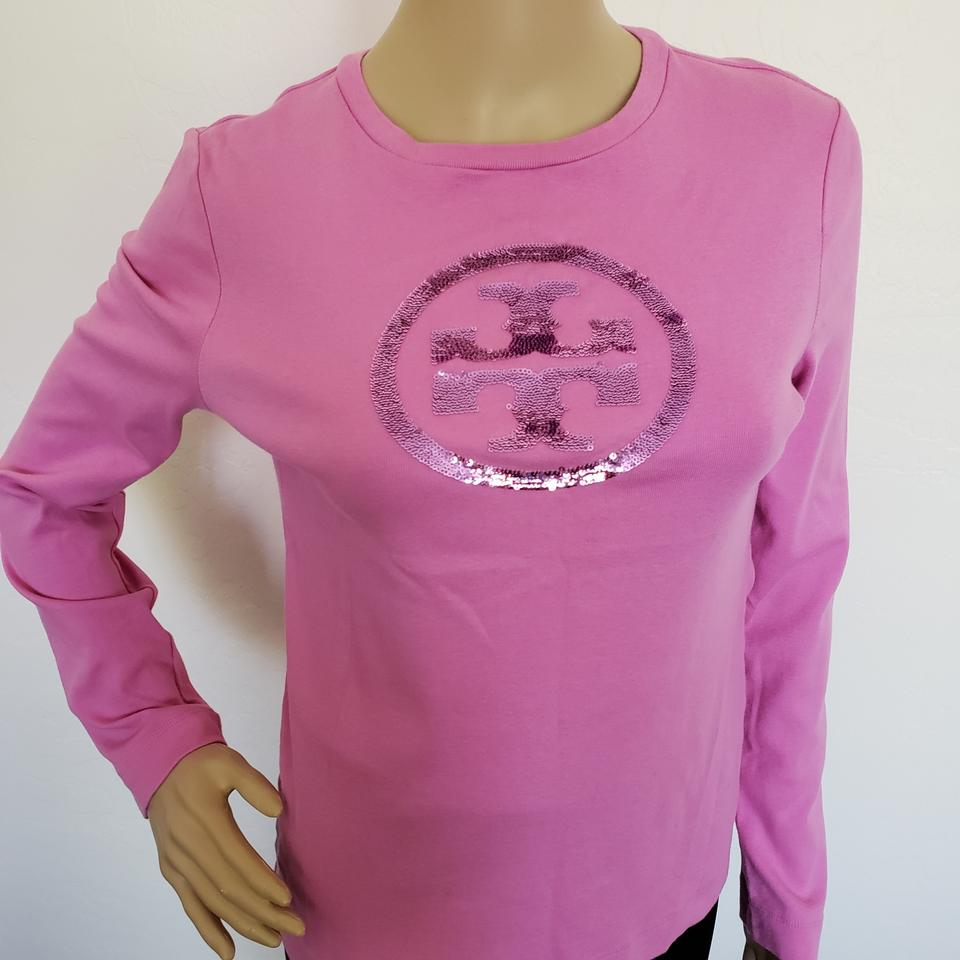 dcd1aa0accda9c Tory Burch Pink Reva Logo Sequined Long Sleeve Blouse Size 8 (M ...