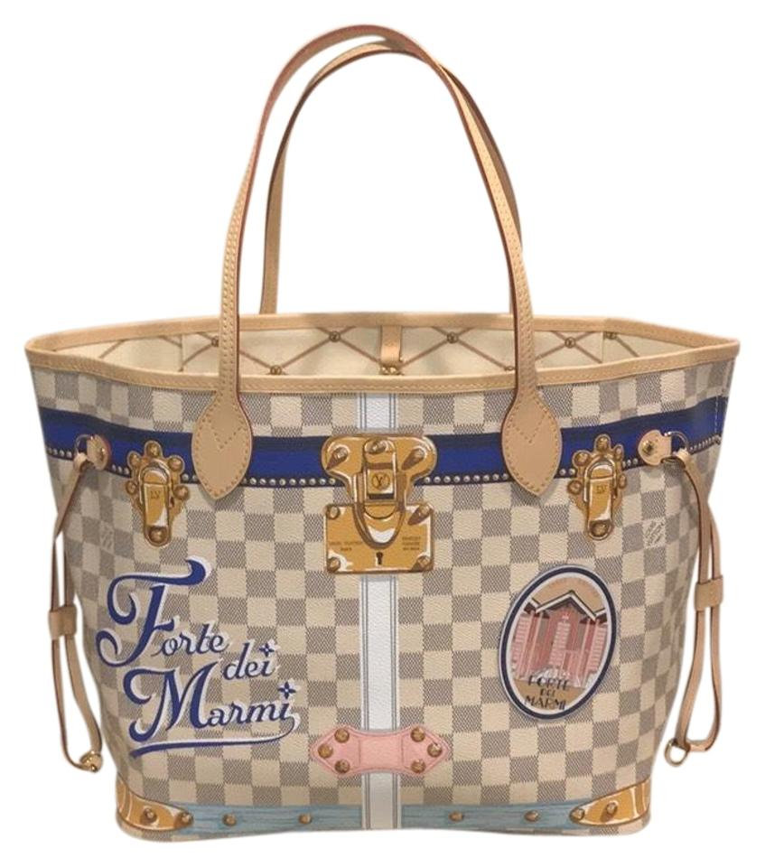 6777a499da9b Louis Vuitton Forte Dei Marmi Capri Neverfull Limited Edition Summer Trunks  Tote in Damier Azur Image ...