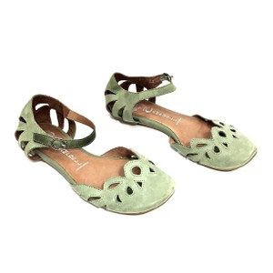 Jeffrey Campbell Leather Mary Jane Green Flats