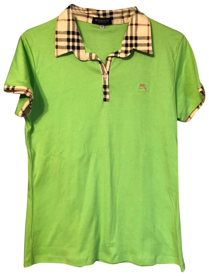 3d1a9715da6 Burberry London Lime Green Nova Check Pattern Polo Tee Shirt Size 16 ...