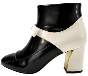 Gucci Ankle Black and White Patent Boots