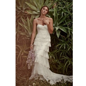 Melissa Sweet Ivory Beaded Tiered Lace Formal Wedding Dress Size 0 (XS)