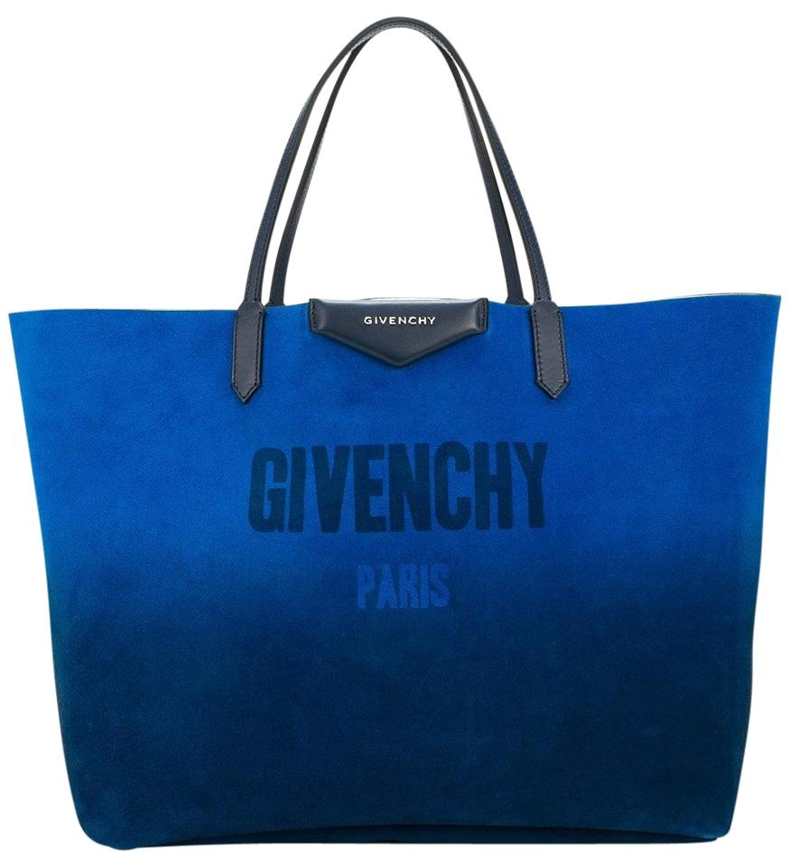 Givenchy Tote Antigona Reversible Silver Ping Per Blue Suede Leather Shoulder Bag 39 Off Retail