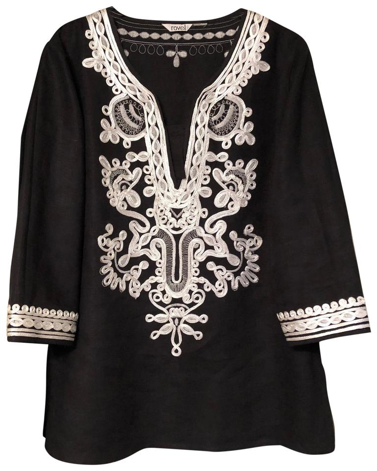 f92bbded283 ravel Black with White Embroidery Tunic Size 4 (S) - Tradesy