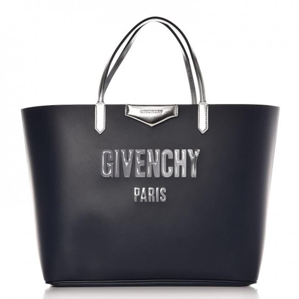 Shoulder Shopper Antigona Givenchy Calfskin Shopping Bag Tote Blue Leather Bubble Silver Reversible FvOO4nU