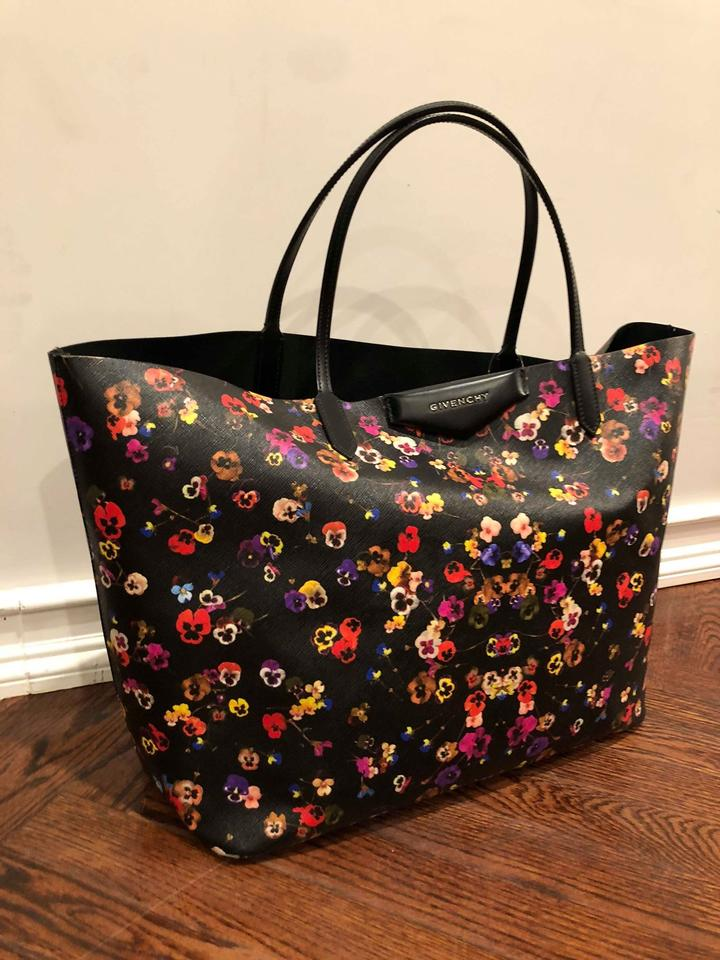 Shopping Givenchy Tote Black Red Floral Shoulder Antigona Canvas Bag Shopper Large gq4qIra