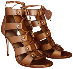 Coach Stiletto Embroidered Gold Hardware Gladiator Ankle Saddle Sandals
