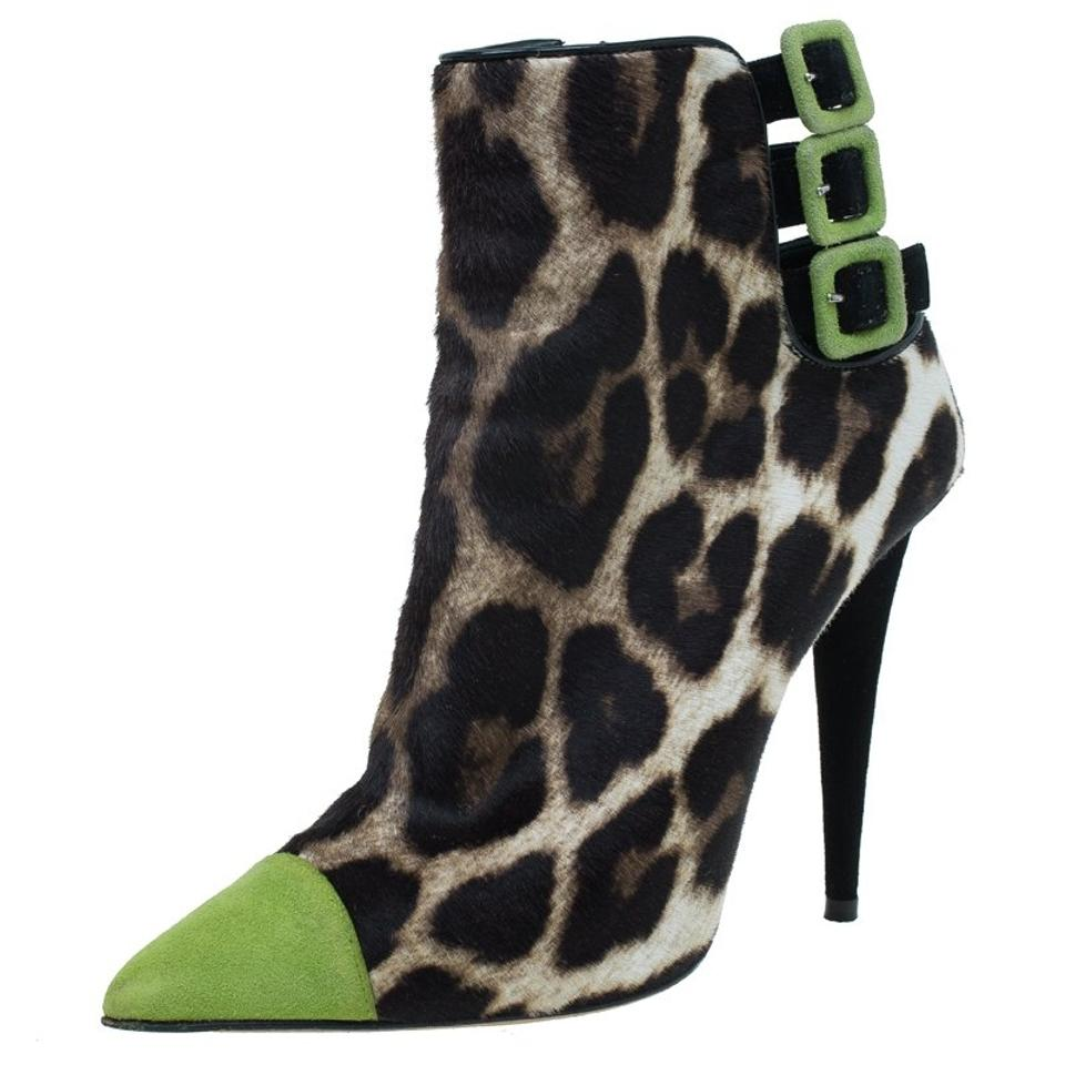 Giuseppe Zanotti Green Beige Leopard Calf Hair and Mint Green Zanotti Suede Cap Boots/Booties 88d7a4