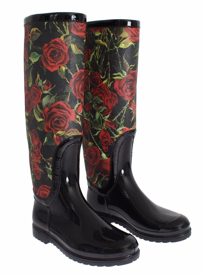 Rain Booties Black Rubber Womens Knee Roses Dolce amp;Gabbana Boots EAxXwqA8