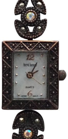 Preload https://img-static.tradesy.com/item/23835112/harve-benard-copper-tone-w-mop-dial-marcasite-styled-bezel-and-gemstone-band-watch-0-1-540-540.jpg