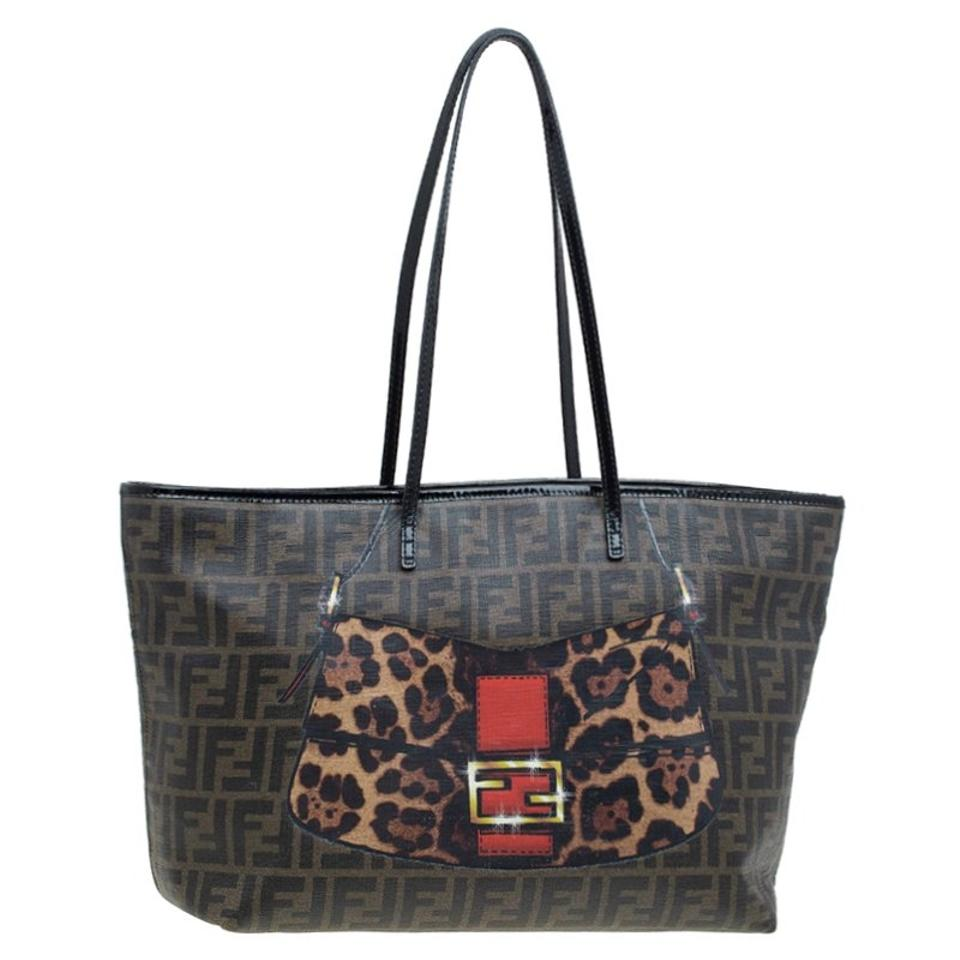 Brown Roll Tobacco Canvas Leather Print Tote Fendi Shopper Coated and Zucca Patent HOR1qxxwX