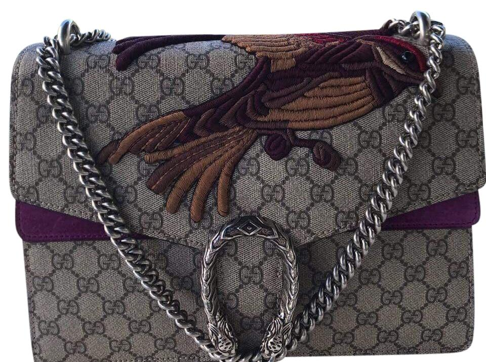 Gucci Dionysus Limited Edition Sold Out Bird Medium Beige/Fuschia Gg  Monogram/Suede Shoulder Bag 47% off retail