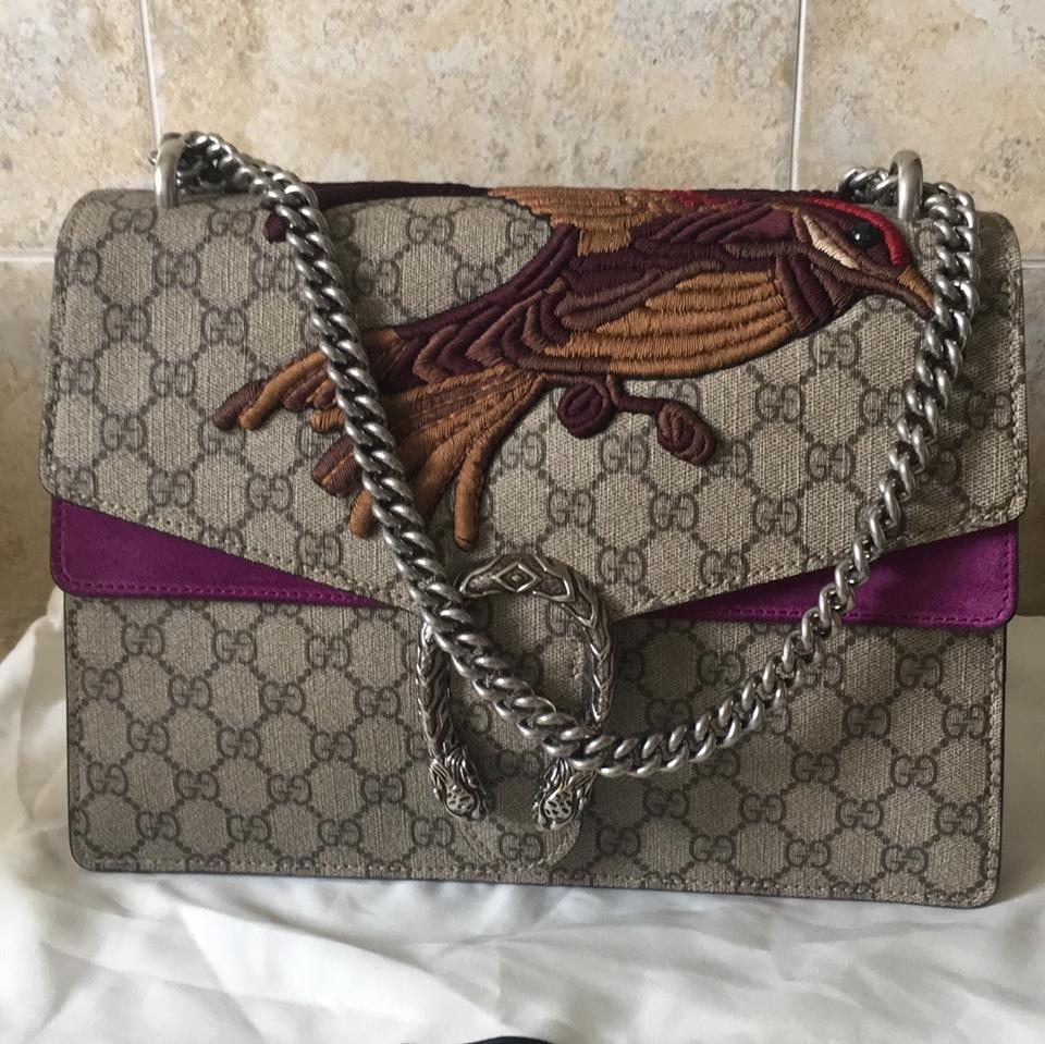 0cf13fbade6635 Gucci Dionysus Limited Edition Sold Out Bird Medium Beige/Fuschia Gg ...