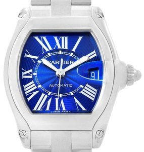 Cartier Cartier Roadster Blue Dial Steel Mens Watch W62048V3 Box Papers