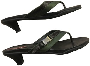 Prada brown leather and army green satin Sandals