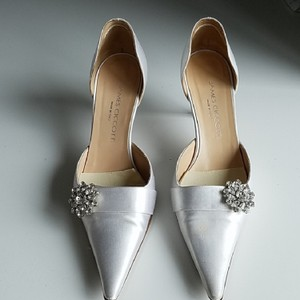 White Satin Evita Pumps Size US Regular (M, B)