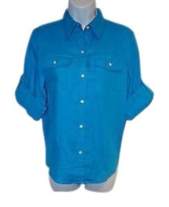 Lauren Ralph Lauren Women Linen Button Front Shirt Nwt Pm Top Blue