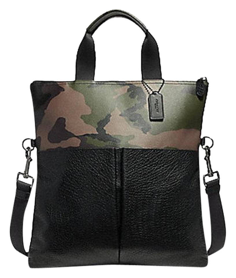 5e98287cd29 Coach Charles Foldover In Print Green Multi Camo Leather / Coated Canvas  Tote