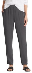 Eileen Fisher Slouchy Silk Georgette Crepe Relaxed Pants BARK