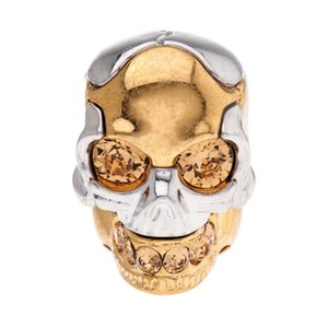 Alexander McQueen Puzzle Skull Ring in Metallic