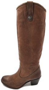 Frye Leather Western Riding Double Pull Tab Cognac Pressed Nubuck Boots