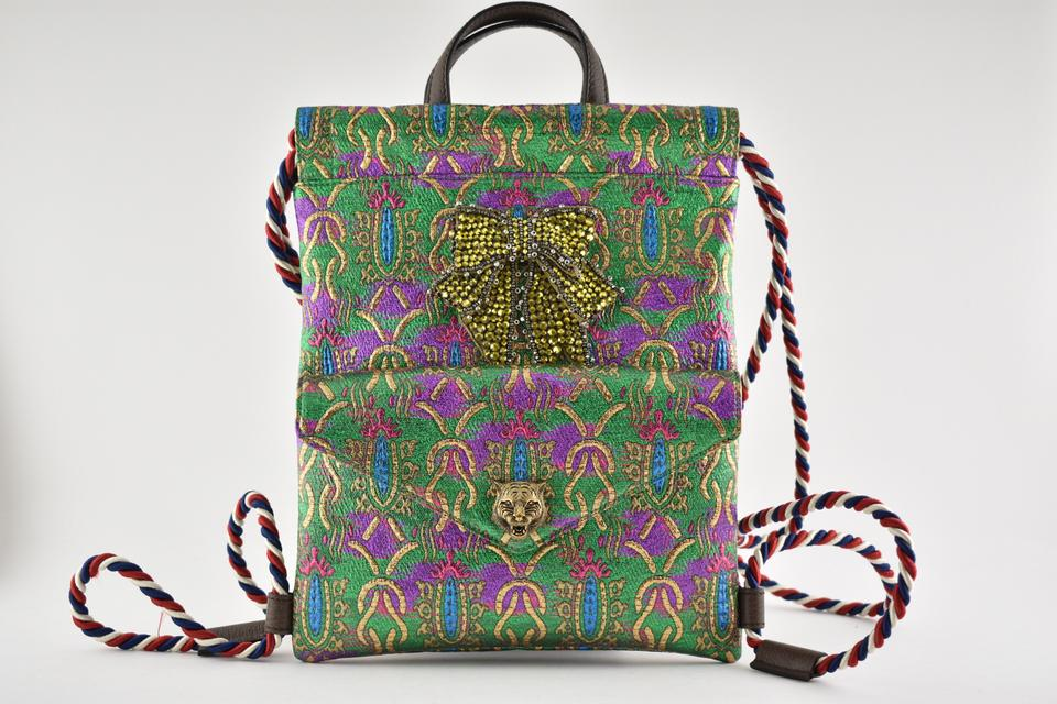 248e1f44ac2 Gucci Crystal Bow Embroidered String Shoulder Green Brocade Backpack ...