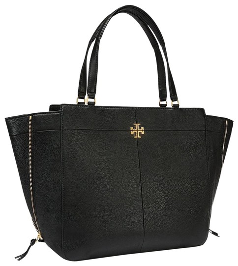 Tory Burch Ivy Large Side Zip Black Leather Tote Tradesy