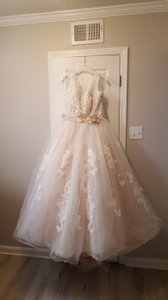 Alfred Angelo Champagne with Ivory Overlay Lace Tulle Satin Underneath 2508 Formal Wedding Dress Size 18 (XL, Plus 0x)