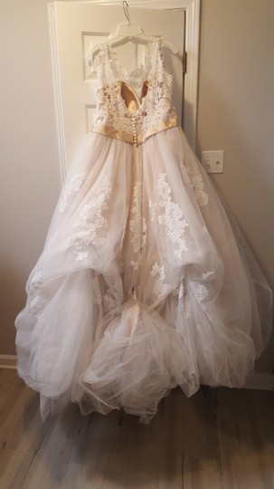 Alfred Angelo Champagne with Ivory Overlay Lace Tulle Satin Underneath 2508 Formal Wedding Dress Size 18 (XL, Plus 0x) Image 4