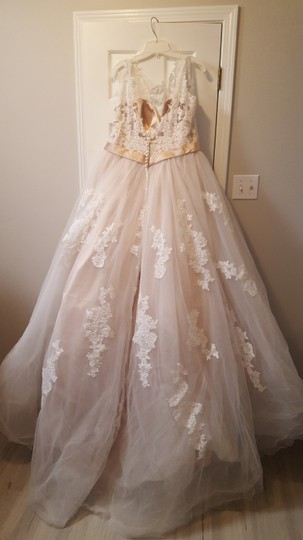 Alfred Angelo Champagne with Ivory Overlay Lace Tulle Satin Underneath 2508 Formal Wedding Dress Size 18 (XL, Plus 0x) Image 5