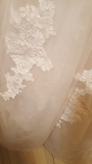 Alfred Angelo Champagne with Ivory Overlay Lace Tulle Satin Underneath 2508 Formal Wedding Dress Size 18 (XL, Plus 0x) Image 9