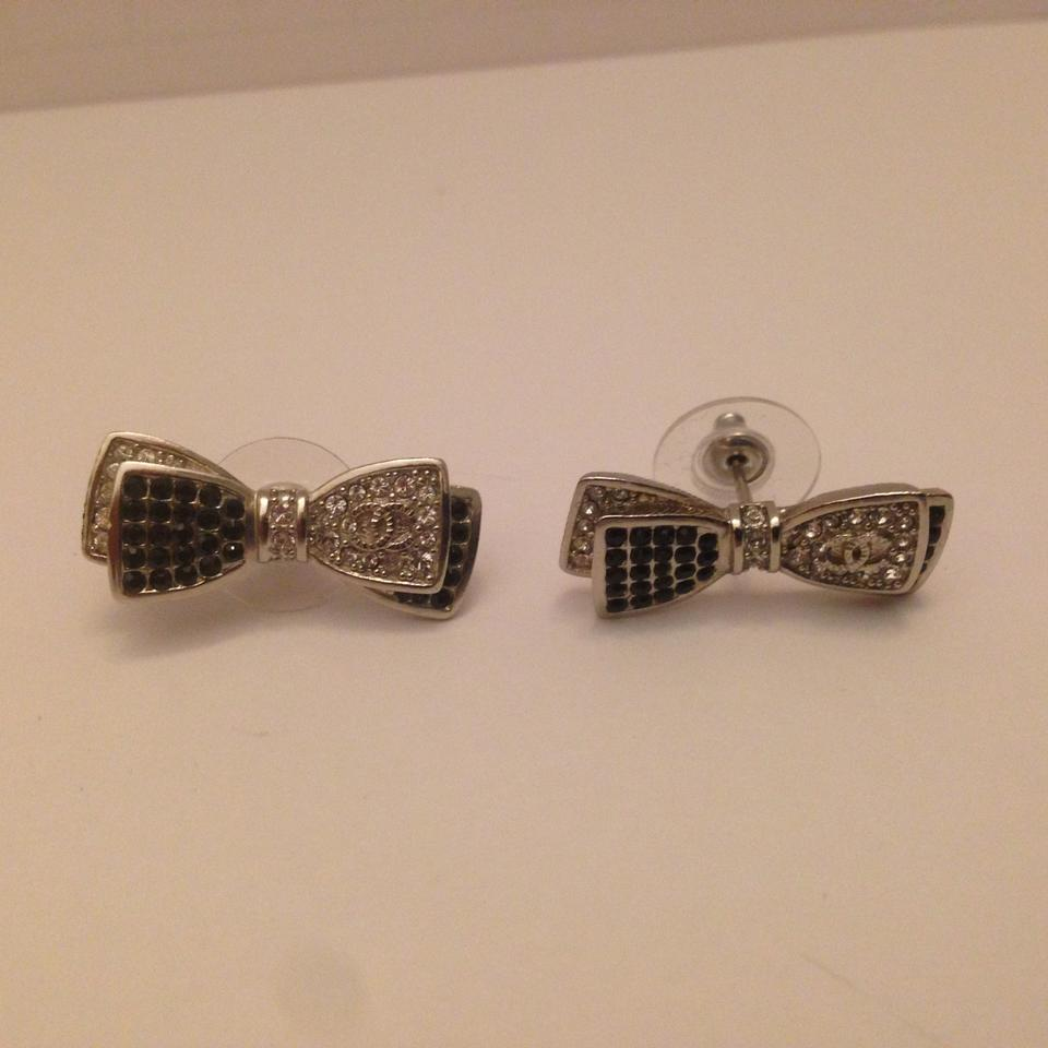 Chanel Gold And Black Tie Shine Small Bow Earrings