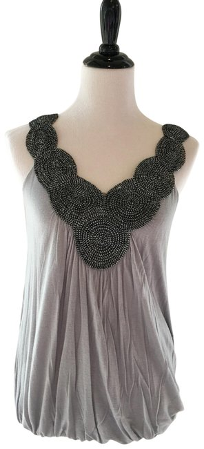 Item - Grey Double V Sleeveless Neck Bubble Hem Embellished Neckline Blouse Tank Top/Cami Size 8 (M)