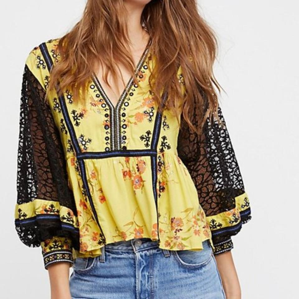 Blouse and Chartreuse Black People Yellow Free CFqXEwB