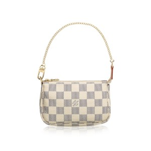 Louis Vuitton Pochette Mini Monogram Pouch Wristlet in Damier Azur