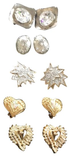 Preload https://img-static.tradesy.com/item/23837878/silvergoldtone-with-crystals-bundle-of-clip-on-five-5-pairs-earrings-0-1-540-540.jpg