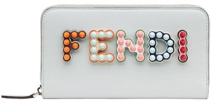 Fendi Studded Spike Blue Red Logo Leather Zipper Around Wallet Clutch Bag