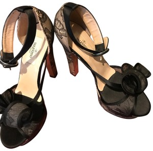 Valentino Black See Through Netting Natural Wedges