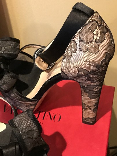 Valentino Black See Through Netting Natural Wedges Image 1