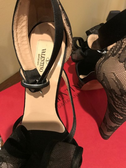 Valentino Black See Through Netting Natural Wedges Image 5