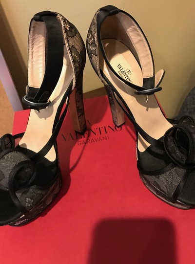 Valentino Black See Through Netting Natural Wedges Image 6