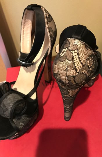 Valentino Black See Through Netting Natural Wedges Image 7