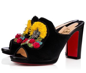 Christian Louboutin Velvet Raffia Black, yellow, red, green, blue Mules