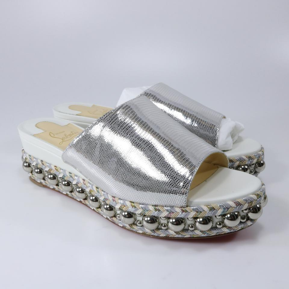 Metallic Louboutin Spike 60mm Christian Latte Janibasse White Studded Sandals A899 Silver qPwE4d